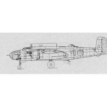 North American B25 Mitchell H & J Line Drawing 3105