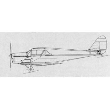 De Havilland 80a Puss Moth Line Drawing 3101