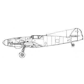 Messerschmitt Bf 109G Line Drawing 3096
