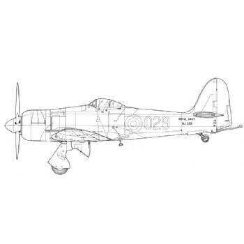 Hawker Sea Fury FB11 And T.20 Line Drawing 3046