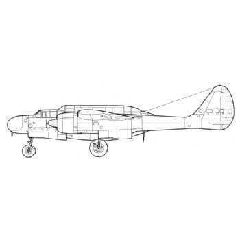 P61 Black Widow Line Drawing 3021