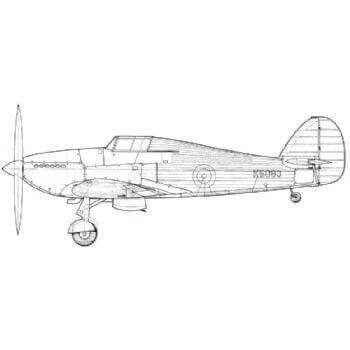 Hawker Hurricane MK1 Line Drawing 3015