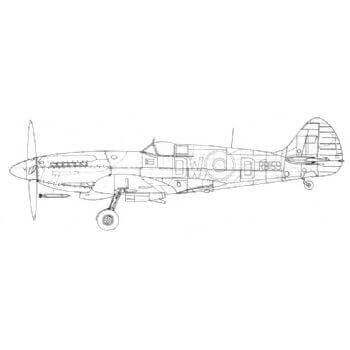 Spitfire FXIV & PRXIX Line Drawing 2999