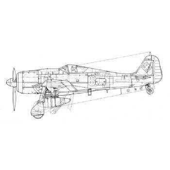 Focke Wulf FW190 Line Drawing 2993