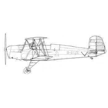 Bucker BU 131B  Jungmann Line Drawing 2956