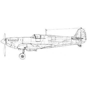 Spitfire MK1 Line Drawing 2896
