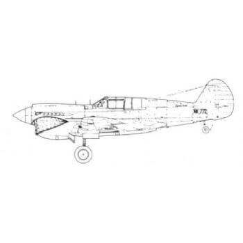 P40 Kittyhawk 1 3 4 Line Drawing 2884