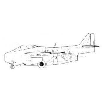 Saab J29 Line Drawing 2858