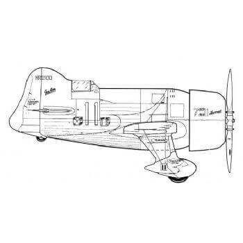 Gee Bee -  R1 Line Drawing 2789
