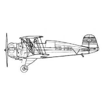 Bucker BU33 Jungmeister Line Drawing 2712