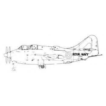 Fairey Gannet T1A Line Drawing 2664