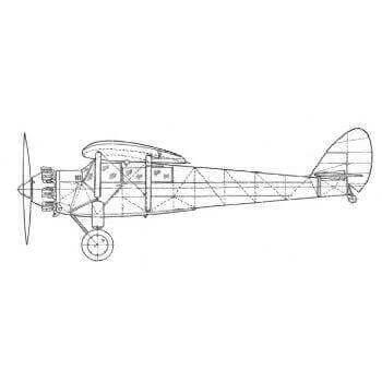 De Havilland D.H 75A Hawk Moth Line Drawing 2144