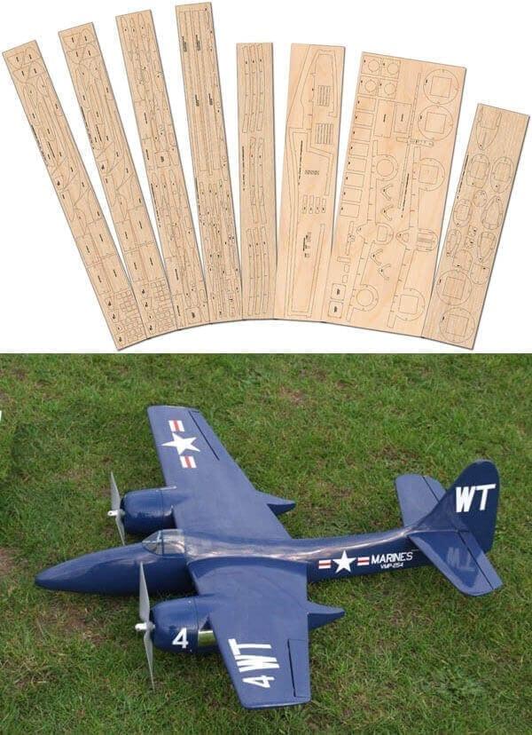 Grumman F7F Tigercat - Laser Cut Wood Pack