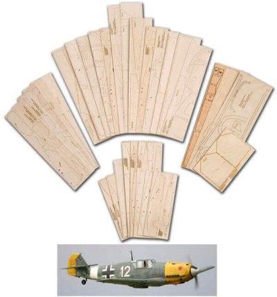 """Messerschmitt Bf109E (68"""") - Laser Cut Wood Pack"""