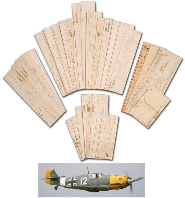 "Messerschmitt Bf109E (68"") - Laser Cut Wood Pack"