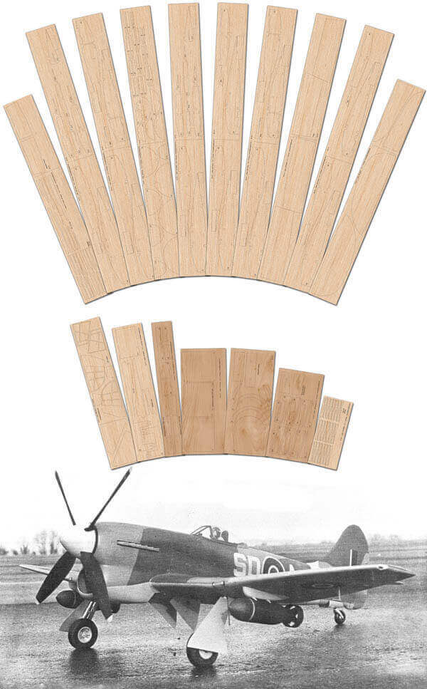 "Hawker Tempest Mk.V (61.5"") - Laser Cut Wood Pack"