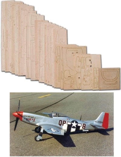 "N.A. P-51D Mustang (69"") - Laser Cut Wood Pack"