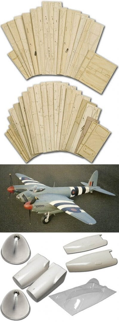 "DH98 Mosquito PR.XVI (81"") - Plan, Laser Cut Wood Pack And Parts Set"